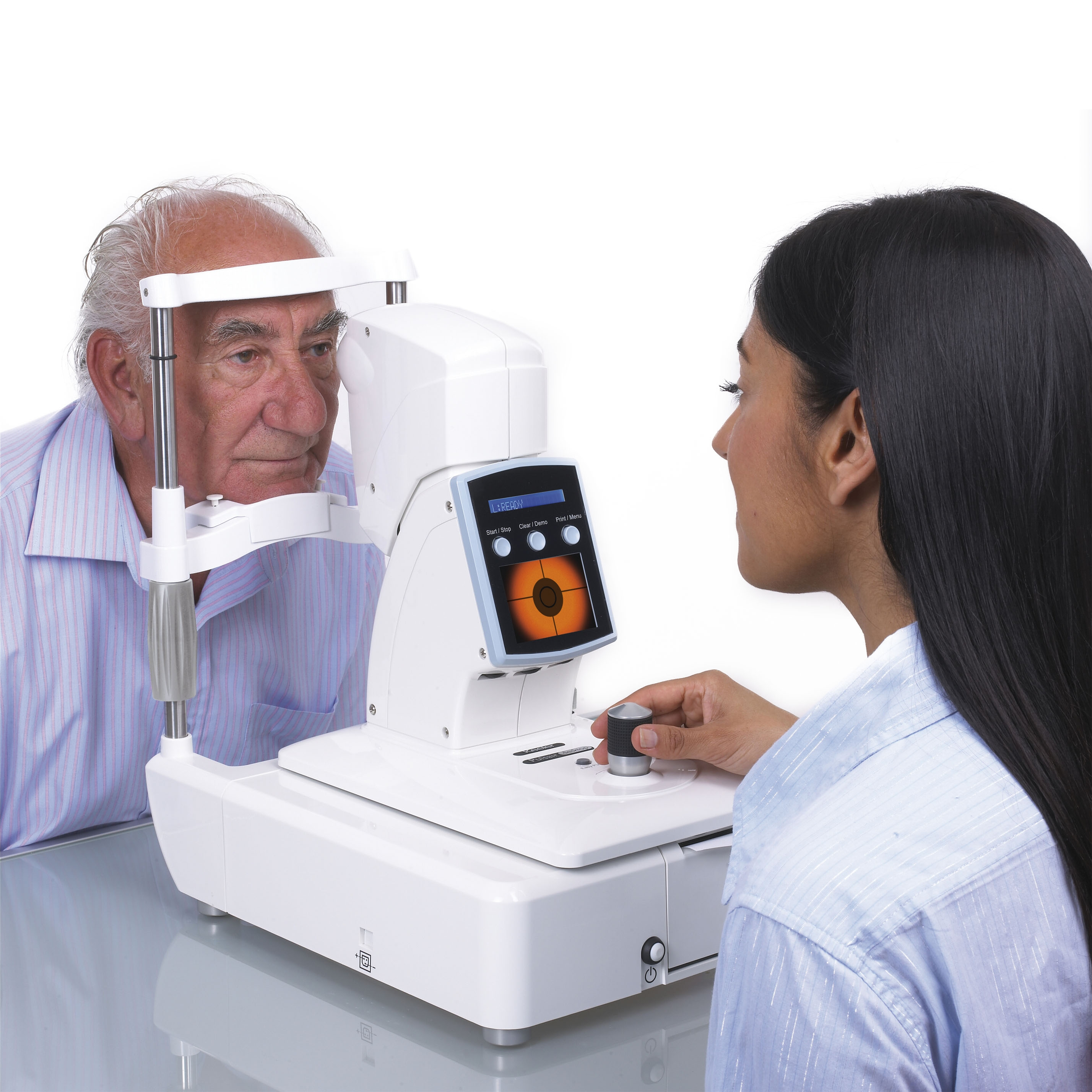 Keeler Pulsair Desktop Non Contact Tonometer with patient